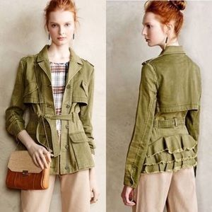 Anthropologie Hei Hei Military Ruffleback Jacket